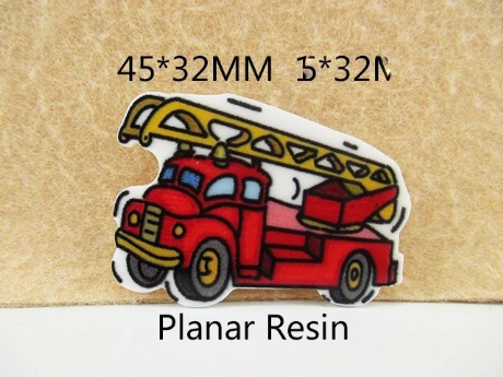 5 x 45MM FIRE ENGINE LASER CUT FLAT BACK RESIN BOWS HEADBAND CARD MAKING PLAQUES